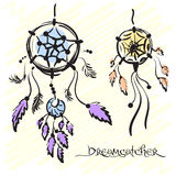 Dream catchers. Native american traditional symbol. Vintage hand drawn. Vector Stock Photos