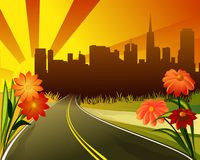 Dream city. Illustration of sunset, city and flowers Royalty Free Stock Images