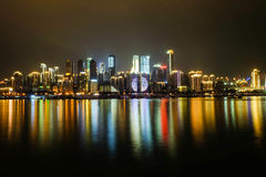 Dream city. A bustling city between with a colorful city royalty free stock photography