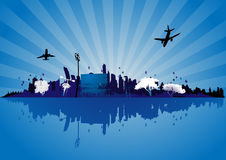 Dream city vector. Vector city with rising sun designed for a dreamlike poster Royalty Free Stock Images