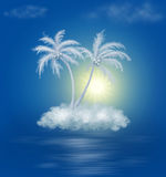 Dream cloud island with palms. On blue vector illustration