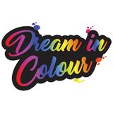 Dream in colours logo. Coloured all colours text caligraphy stock illustration