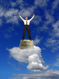 Dream come true !. Business dream. Businessmen on clouds with success. Dream come true royalty free stock image