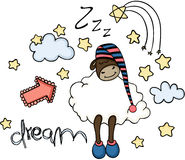 Dream cute sheep sleeping Stock Photo