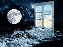 Dream about a day. Sea landscapes with full moon and window with day view Royalty Free Stock Images