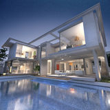 Dream designer villa. 3D rendering of an impressive open villa with pool Royalty Free Stock Images