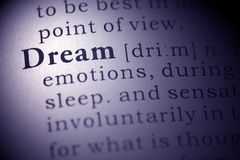Dream. Dictionary definition of the word Dream Royalty Free Stock Photos