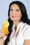 dream drinking juice orange woman Стоковые Фото