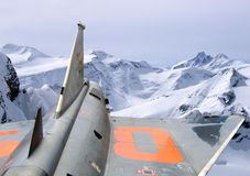 Dream flight. Saab J 35 over the austrian mountains Stock Photography