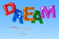 Dream from foil balloons with cutting scissors on the blue sky,. 3D Stock Photography