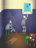 The dream of freedom. Two prisoners in a prison cell. Illustration Royalty Free Stock Photos