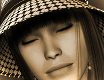 Dream Girl mit hat  in Sepia Stock Photo