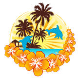 Dream holiday with dolphin. A illustration of holiday image with dolphins Royalty Free Stock Image