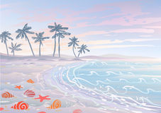 Dream holiday. Pastel dream holiday on a beach with sand, waves and seashells Royalty Free Stock Images