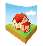 Dream home. Cute small house with red roof and clear sky Stock Photography