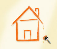 Dream Home. Brushes stroke home design. (Dream Home Concept stock illustration