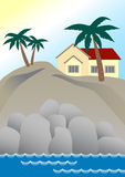 Dream Home. A house on a cliff at the beach, surrounded by palm trees Royalty Free Stock Photography