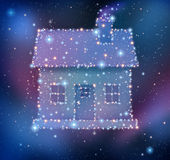 Dream Home. Or dreaming of a family first house as a cluster of bright stars and planets as a night sky constellation in the shape of a residential structure as Stock Image