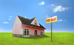 Dream home for rent. Real estate, realty, realtor. Cosy home with lawn, sign For rent. A lot of space for text Stock Photos