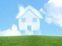 Dream of homeownership. Small house from clouds, Dream of homeownership Stock Images