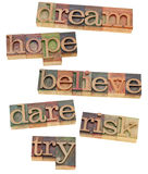 Dream, hope, believe, dare, risk and try. Dream, hope, believe, dare, risk, try - a collage of motivational and spiritual isolated words in vintage wood Royalty Free Stock Photography