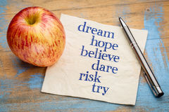 Dream, hope, believe, dare, risk and try Stock Photos