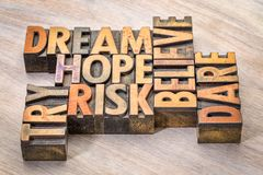 Dream, hope, believe, dare, risk and try word abstract stock images