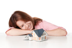 Dream about house. Estate agency client (architect, constructor) dream about new house stock image