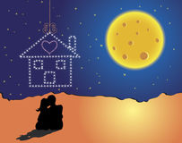 The Dream House. A dream house emerging with love under the clear moon Royalty Free Stock Images