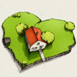 Dream house from above. Illustration of a house with a garden in the shape of a heart Royalty Free Stock Images