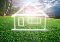 Dream house on beautiful land scape use for real estate , land d Royalty Free Stock Photo
