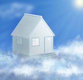 Dream house and cloud with sun collage. Dream house and cloud on sky with sun collage Stock Illustration
