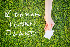 Dream House Concept. Check list with the words dream, loan and land next to a hand of a woman holding a cutout paper house over green grass Royalty Free Stock Images