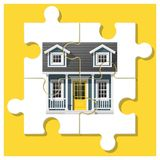 Dream house concept with completed puzzle house on colorful background Stock Photos