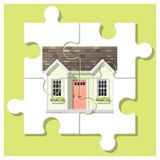 Dream house concept with completed puzzle house on colorful background. Vector , illustration Royalty Free Stock Photos