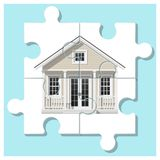 Dream house concept with completed puzzle house on colorful background. Vector , illustration Stock Photo