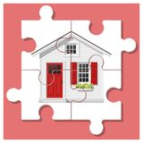 Dream house concept with completed puzzle house on colorful background. Vector , illustration Stock Photography