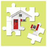 Dream house concept with puzzle house and the last piece for reach the goal Stock Photos
