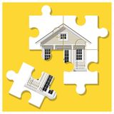Dream house concept with puzzle house and the last piece for reach the goal Royalty Free Stock Images