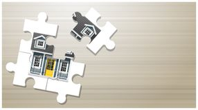 Dream house concept with puzzle house on wooden board background. Vector , illustration Royalty Free Stock Image