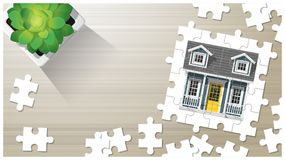 Dream house concept with puzzle house on wooden board background. Vector , illustration Royalty Free Stock Photos