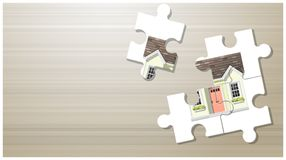 Dream house concept with puzzle house on wooden board background. Vector , illustration Royalty Free Stock Photography