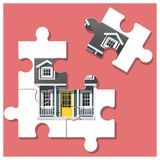 Dream house concept with puzzle house and the last piece for reach the goal Royalty Free Stock Image