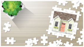 Dream house concept with puzzle house on wooden board background. Vector , illustration Royalty Free Stock Images