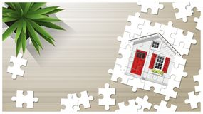 Dream house concept with puzzle house on wooden board background. Vector , illustration Stock Photos