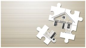 Dream house concept with puzzle house on wooden board background. Vector , illustration Stock Images