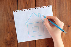 The dream of the house. drawn blue house Royalty Free Stock Images