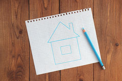 The dream of the house. drawn blue house Royalty Free Stock Photo