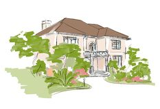 Dream house. Exterior architectural drawing Stock Photo