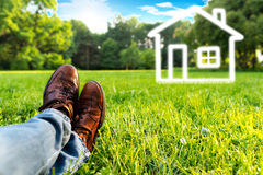 Dream house on the field Royalty Free Stock Images